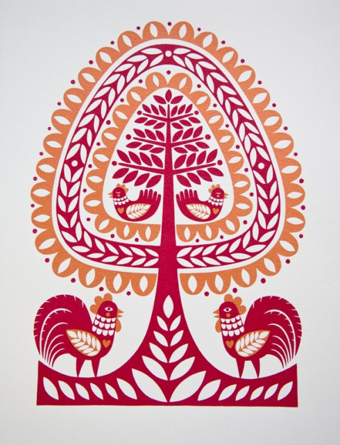 Karoline Rerrie - Folk Tree and Roosters 150dpi